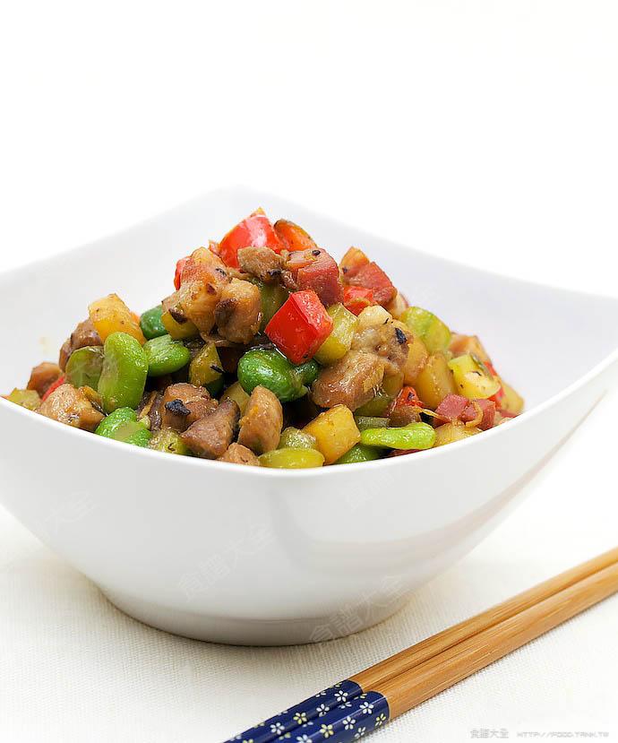 醬肉脆炒什錦蔬菜丁