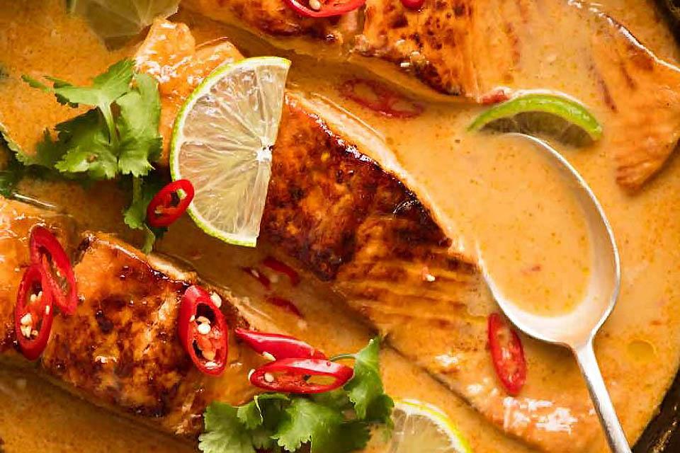 椰汁咖哩醬 鮭魚料理