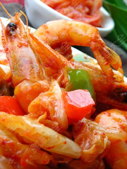 韓味泡菜炒蝦