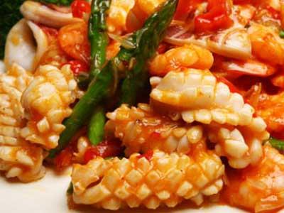 柚香蘆筍鮮蝦魷魚卷